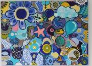 tableau abstrait fleur poisson oiseau enfantin : Un rêve bleu et plaisible - Peaceful blue dream