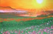 tableau paysages soleil montagne vallee fleurs : Coucher de soleil