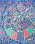 tableau abstrait palette picturale toile de lin acrylique et collage peinture abstraite : PALETTE PICTURALE