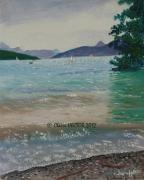 tableau marine voiliers lac eau paysage : VOILIERS