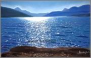 tableau paysages serresponcon lac soleil eau : COUCHER DE SOLEIL