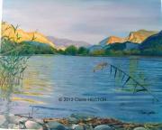 tableau paysages lac automne soleil eau : LES TROIS LACS
