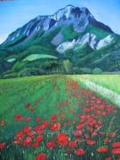 tableau paysages paysage fleurs montagne ble : COQUELICOTS