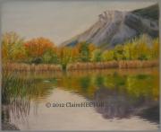 tableau paysages lac automne monetier hautes alpes : AUTOMNE AU LAC