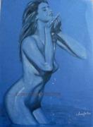 tableau nus dessin nues papier de couleur bleu : BAIN