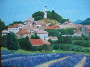 tableau paysages lavande village clocher paysage : LAVANDE