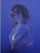 tableau nus dessin nues papier de couleur : BLEU