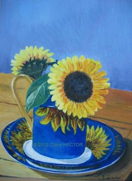 TABLEAU PEINTURE fleur tournesol vase assiette Nature morte Peinture a l'huile  - TOURNESOLS