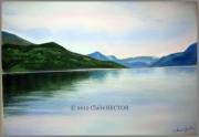 tableau paysages serresponcon lac eau calme : EAU CALMES