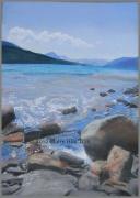 tableau paysages lac rochers serresponcon hautes alpes : ROCHERS