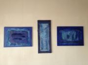 tableau abstrait : Bleus...