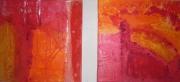 tableau abstrait : duo orangé