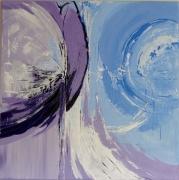 tableau abstrait bleu blanc mauve : Courants d'air