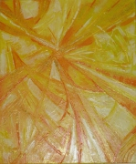 "tableau abstrait jaune or orange traits : "" ORGUEIL"""