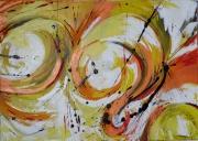 tableau abstrait orange jaune rouge noir : Intuition