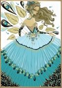 art numerique personnages femme fleur or dessin : Temps doré