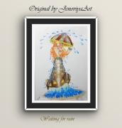 dessin personnages pluie femme dessin marron : En attendant la pluie