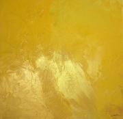 tableau abstrait jaune or palmier : N°2