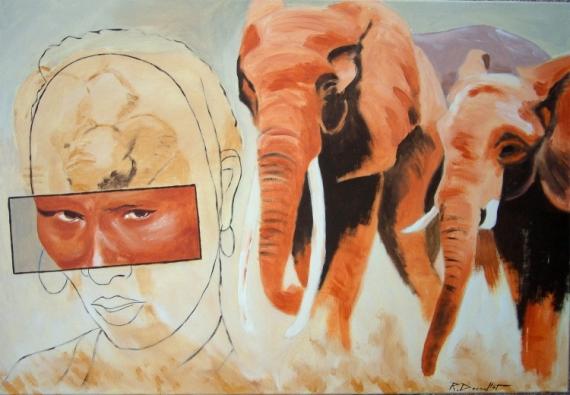 TABLEAU PEINTURE  - savanne