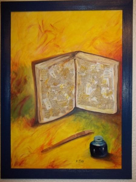 Tableau Peinture : Le livre et la plume - Galerie-Creation