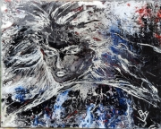 """tableau abstrait portrait abstrait figuratif ballancourt : Abstrait """"H"""" Rebelle"""
