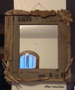 deco design miroir bois flottes vintage : Miroir bois flotté vintage
