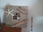 deco design autres bois flotte miroir etoile de mer : Miroir bois flottés