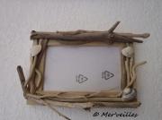 deco design autres cadre photo bois flottes coquillage : Cadre photo bois flottés