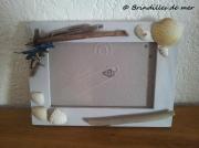 deco design marine cadre photo bois flo brindilles de mer breloque argentee : CAdre photo bois flotté coquillages