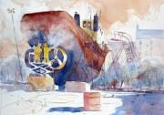 tableau marine aquarelle marine bateau : Le Scorff