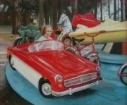tableau personnages manege voiture avion : Rose Marie au manège