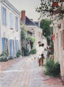 tableau scene de genre behuard rue du chevalier buhard rue pavee rue principale behuard : Béhuard, la rue principale
