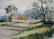 tableau chemin route campagne angleterre : La route de Worcestershire (d'après 1 oeuvre de A. Phillips