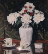 tableau fleurs pivoines fleurs vase tasse : Pivoines