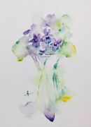 tableau fleurs violettes fleurs bouquet : Violettes en pot d'après JHaines