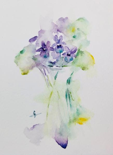TABLEAU PEINTURE violettes fleurs bouquet Fleurs Aquarelle  - Violettes en pot d'après JHaines