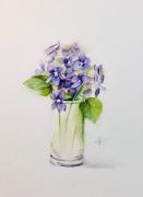 tableau fleurs : Petit bouquet de violettes