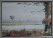tableau paysages eau automne riviere : Lumière automnale