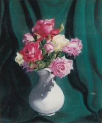 Roses de mon jardin en bouquet, pichet blanc