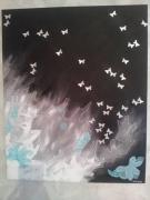 tableau abstrait papillons noir bleu blanc : Liberté