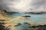 tableau marine bleu jaune calme mer : St Malo