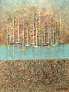 tableau marine abstrait le port acrylique pointillisme : le port