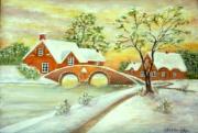 tableau paysages tableau figuratif acrylique neige : la neige