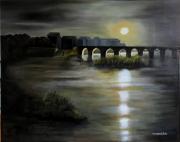tableau paysages nuit pont lune eau : Nocturne