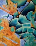 tableau abstrait rouille peinture orange bleuvert : Peinture et Rouille