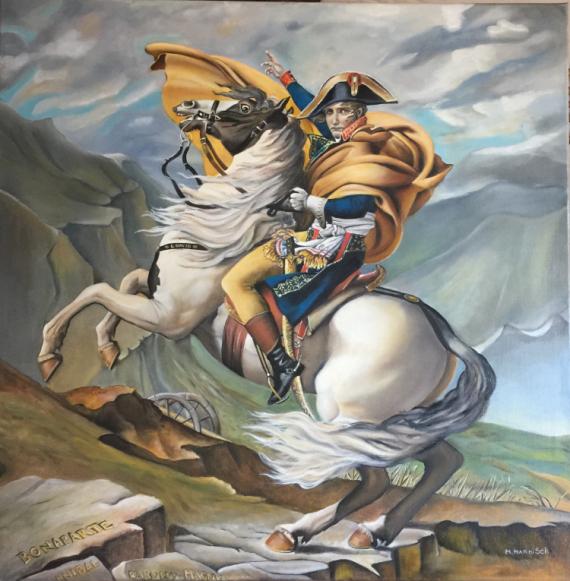 TABLEAU PEINTURE Bonaparte Napoleon cheval montagne Personnages Peinture a l'huile  - Bonaparte franchissant le Grand Saint Bernard