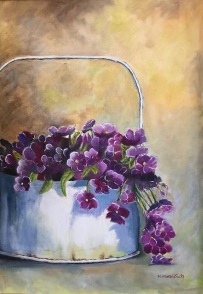 TABLEAU PEINTURE fleurs jardiniere violet bouquet Fleurs Peinture a l'huile  - Jardinière blanche