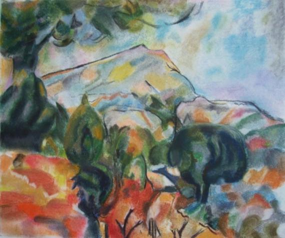TABLEAU PEINTURE cézanne montagne nature victoire Paysages Pastel  - Montagne Sainte Victoire d'après Cézanne