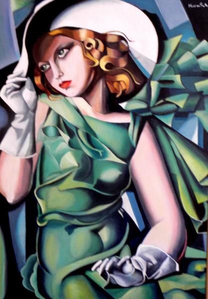 TABLEAU PEINTURE femme robe vert chapeau Personnages Peinture a l'huile  - Dame en vert