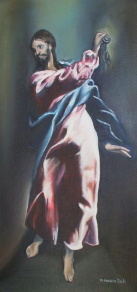 TABLEAU PEINTURE Christ rose histoire Personnages Peinture a l'huile  - Christ du Greco